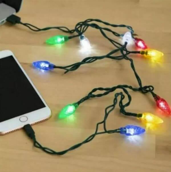 Nabíjecí kabel s vánočními světly z AliExpress